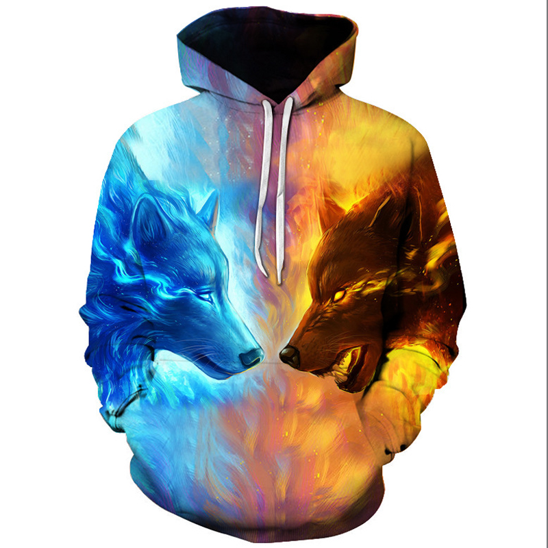 Animal wolf 3D Print Women Men Hoodie Sweatshirt Pullover hooded Jacket Coat