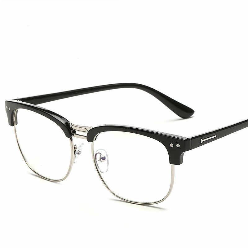Унисекс винтажные компьютерные оптические очки для мужчин женщин Защита мужская повседневная стеклянная полусфера очки в оправе стрелы глаз Стекло es oculos