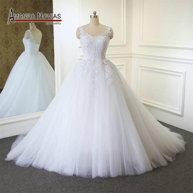 2018 Amanda Novias Neue Design Plain Tüll Hochzeitskleid Mit Straps ...
