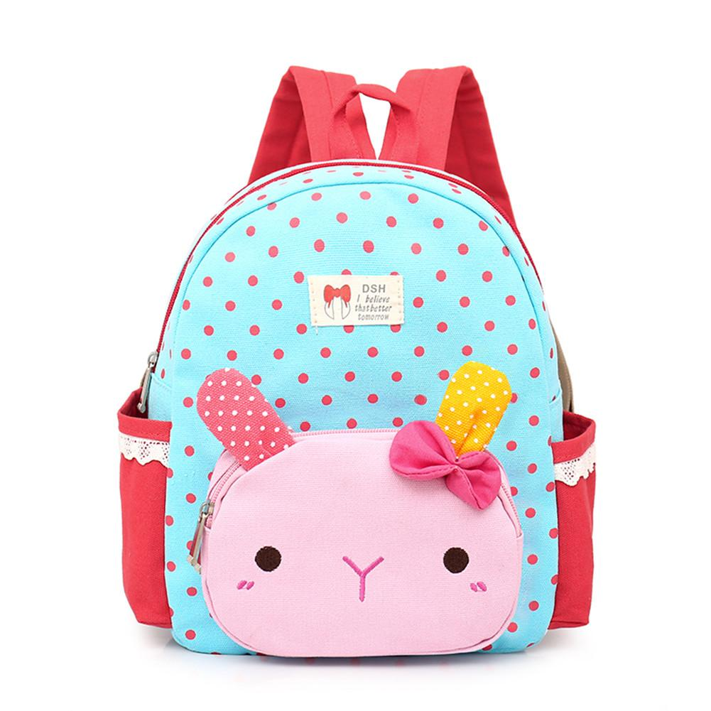 Cartoon Cute Backpack Wave Point Pattern Kindergarten Bag Children Backpacks For Girls School Student Backpack Baby Girls Bags