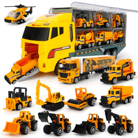 PIP Games Container Truck (include 6 cars) Large Truck Transport Car Musical Alloy Metal Cars Model Boys Vehicle Toy Set PGM154