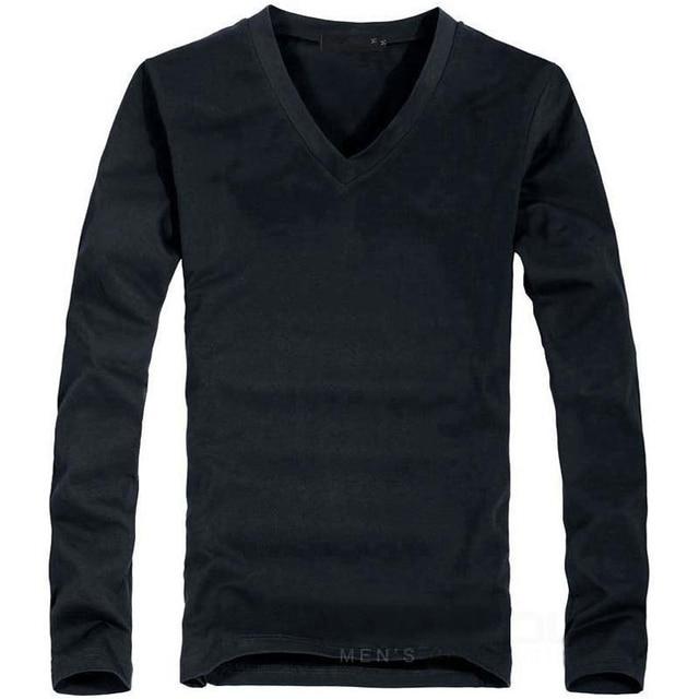 2018 Elastic Mens T-Shirt V-Neck Long Sleeve Men T Shirt For Male Big Size Lycra And Cotton TShirt Business Man Tees 2