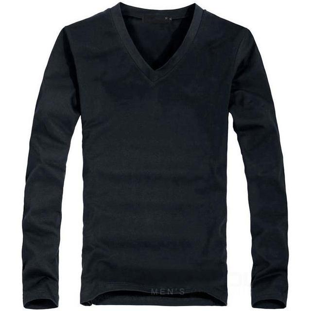 2018 Elastic Mens T-Shirt V-Neck Long Sleeve Men T Shirt For Male Big Size Lycra And Cotton TShirt Business Man Tees
