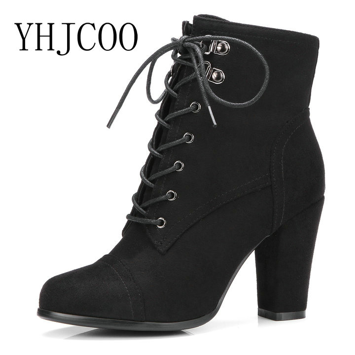 New Arrival Ankle Boots for Women Ladies Lace-Up Fashion High Heels Women Shoes Square heel Zipper Flock Western Autumn Boots new arrival women ankle boots square heel shoes women fashion footwear comfortable new designers zipper western ladies zapatos