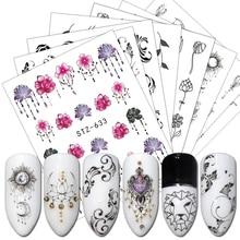 24 pçs preto branco prego polonês adesivo borboleta flor colar geometria prego slider manicure decoração água decalque bestz24