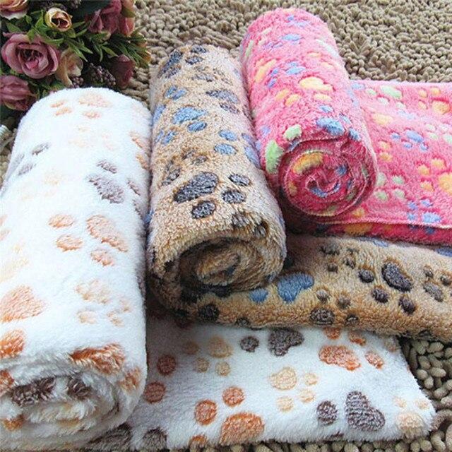 Pets Mat Soft Warm Fleece Paw Print Design Pet Puppy Dog Cat Mat Blanket Bed Sofa Pet Warm Product Cushion Cover Towel 3