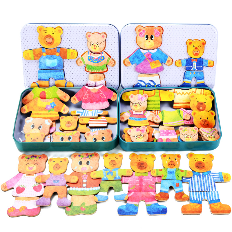 Girls Favorite Dress Changing Game 36Pcs Wooden Magnetic Teddy Bear Family Dress-Up Puzzle Kids Education Toys Birthday Gifts