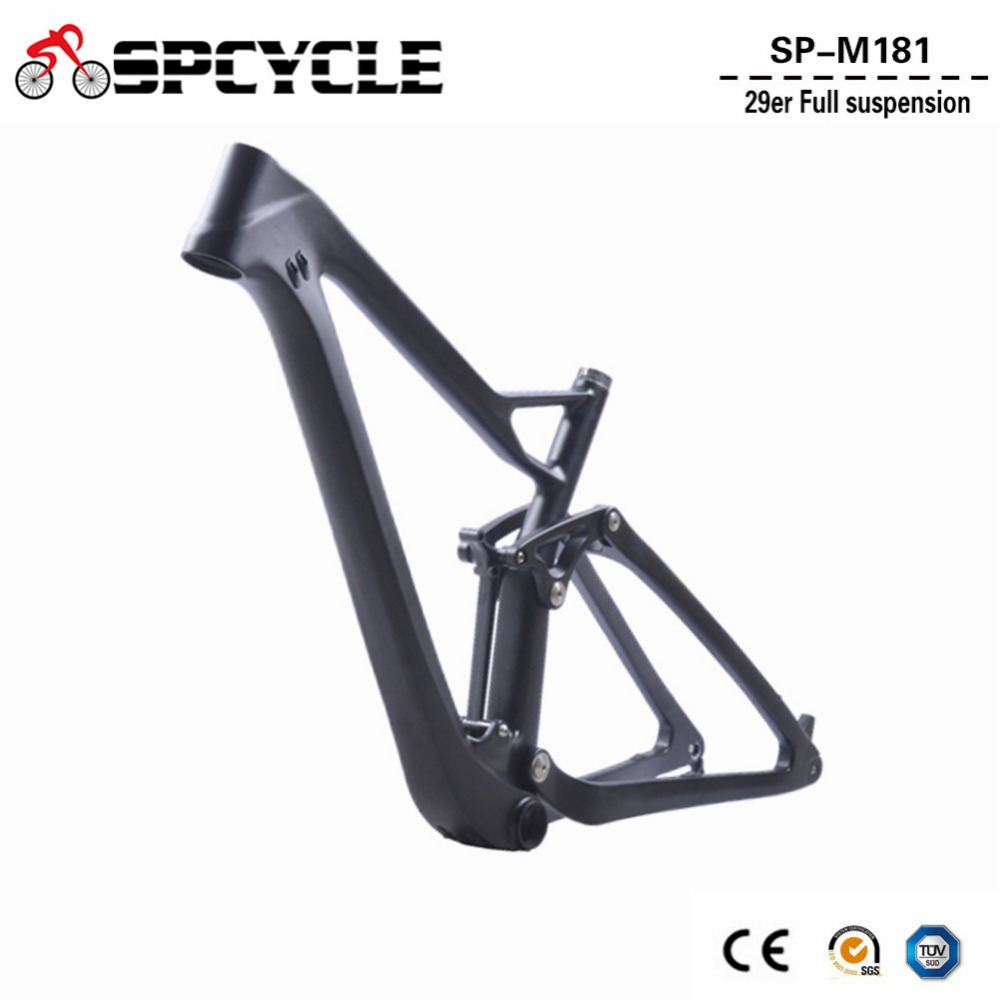 2018 New Full Suspension Carbon Mountain Bike Frame Disc 29er MTB Carbon Frame 29er/27.5er Plus Boost Suspension Frameset 17 inch mtb bike raw frame 26 aluminium alloy mountain bike frame bike suspension frame bicycle frame