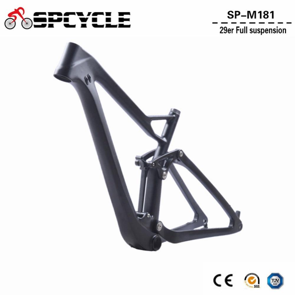 2018 New Full Suspension Carbon Mountain Bike Frame Disc 29er MTB Carbon Frame 29er/27.5er Plus Boost Suspension Frameset