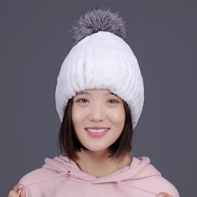 Real fur hat knitted rex rabbit fur hat for women silver Fox pom poms hat winter beanies caps