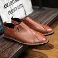 new round fashion loafers British daily handmade casual shoes men leather set foot tide men shoes