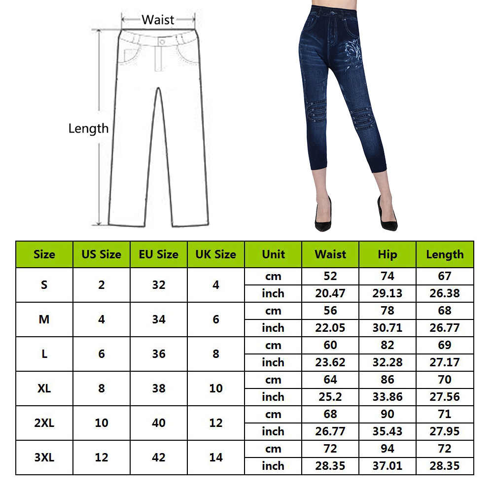 Laamei 2019 Fashion Wanita Kasual Pinggang Tinggi Betis Panjang Celana Semua Musim Peregangan Celana Saku Print Biru Tidak Teratur Top Jeans