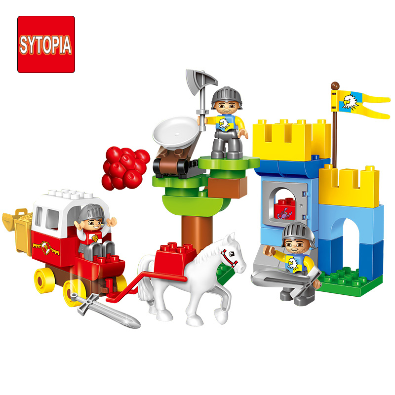 Sytopia Mini Castle War Knight Children Building Blocks Big Size Educational Toy For Baby Kid Gift Toy Compatible With Duploe xizai connection blocks cartoon building toy big size kitty assembly educational intelligence blocks melody for children gift