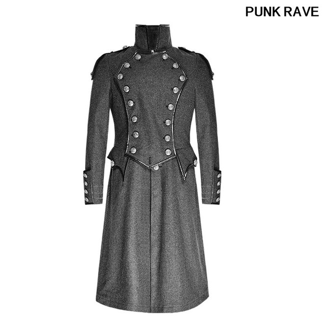 a47b3205387 Steampunk England Vintage Men Twill Wool Blends Grey Coats Gothic Military  Uniform Long Casual Jackets Overcoat