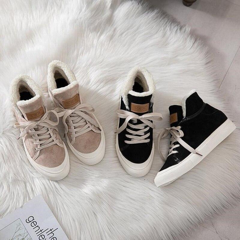 Más Black Casual Invierno Nuevo 18high Cordones Cálidos Lambs De Mujer Top inferior Terciopelo Algodón Plano Botas beige Zapatos Cómodo AwPqCTz