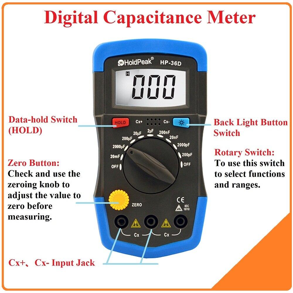 Digital Meter Tester : Holdpeak mini multimeter lcd digital capacitance meter