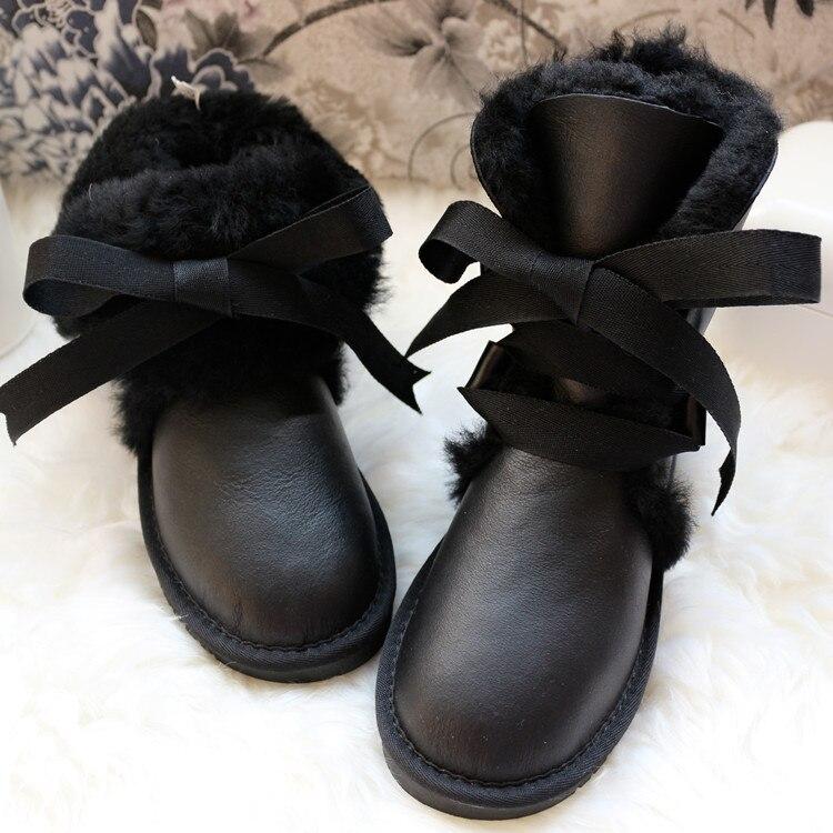 새로운 상위 패션 정품 양피 가죽 여성 스노우 부츠 방수 겨울 부츠 100% 천연 모피 따뜻한 양모 여성 부츠-에서미드 카프 부츠부터 신발 의  그룹 1