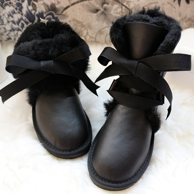New Top Fashion Genuine Sheepskin Leather Woman Snow Boots Waterproof Winter Boots 100% Natural Fur Warm Wool Women Boots-in Mid-Calf Boots from Shoes    1