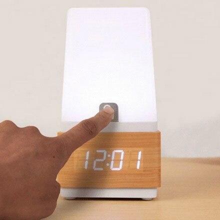 Livraison gratuite led tactile capteur numérique électronique réveil muet rétro lumière vocale chevet bois horloge - 4