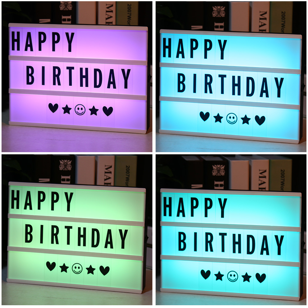 New LED Color Changing DIY Letter Combination USB Or AA Light Box Night Lamp With Remote Control Cinema Lightbox