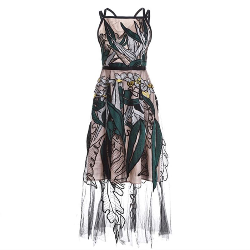 Nouveau Parti 2019 D'été Sexy Longue Tulle Maxi Élégantes Designer Sans Femmes Piste Cheville Longueur Robe Manches Broderie DWE9IH2