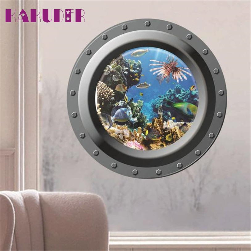 KAKUDER u7122 Ventana Mundo Submarino Submarino 3D Wall Sticker Home Decor