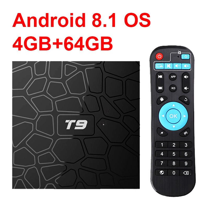 New T9 Smart TV Box Android 8.1 4GB 32GB 64GB Rockchip RK3328 1080P H.265 4K Google Player Store Netflix Youtube PK X96 max T95Q