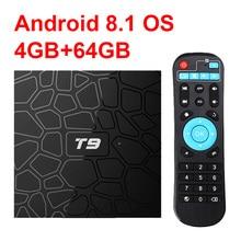 Новый T9 Smart ТВ Box Android 8,1 4 ГБ, 32 ГБ, 64 Гб Rockchip RK3328 1080 P H.265 4 K проигрыватель Google магазине Netflix Youtube PK X96 max T95Q