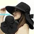 Estilo de la manera de la Señora Sombreros Del Sol de Verano Gran sombrero para el Sol Sombreros de Playa Al Aire Libre Más Colores con Bowknot Disponibles Sombreros para el Sol