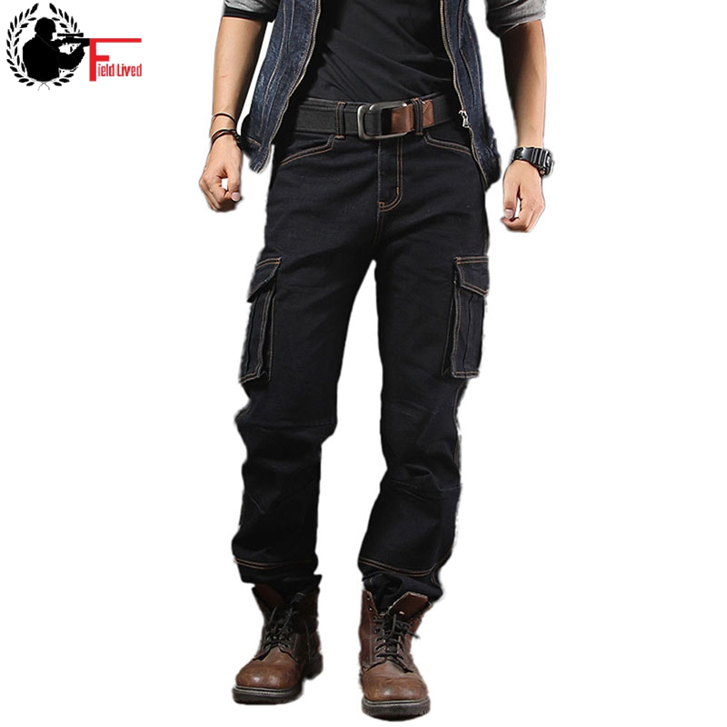 Cargo Jeans Baggy Jeans Mens Casual Loose Workwear Multi Side Pockets Denim Straight Trousers Male Military Army Pants Men Black