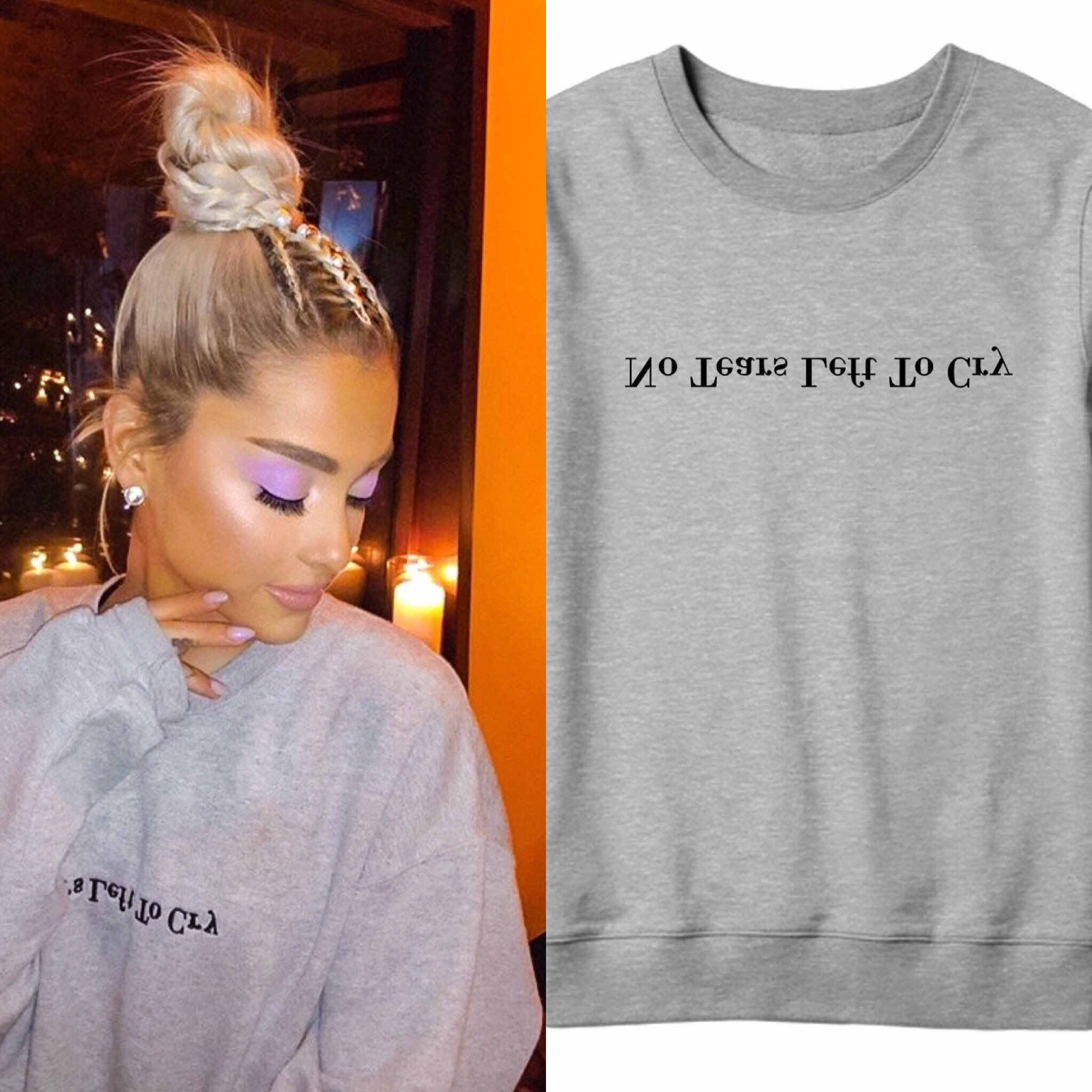 Print letter no tears left to cry ariana grande sweatshirt wonen print hoodie brand