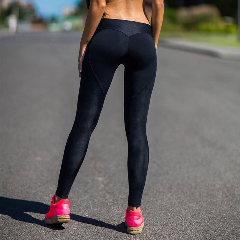 New 2019 Fitness Leggings Solid Color Black Workout Push Up Leggings Women Pants Slim Breathable Sexy Buttocks Leggins