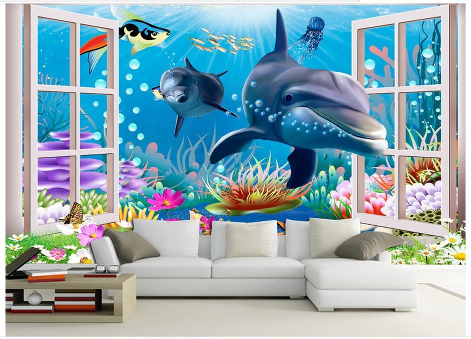 High quality hot sale new custom 3d photo wallpaper murals for Aquarium mural wallpaper