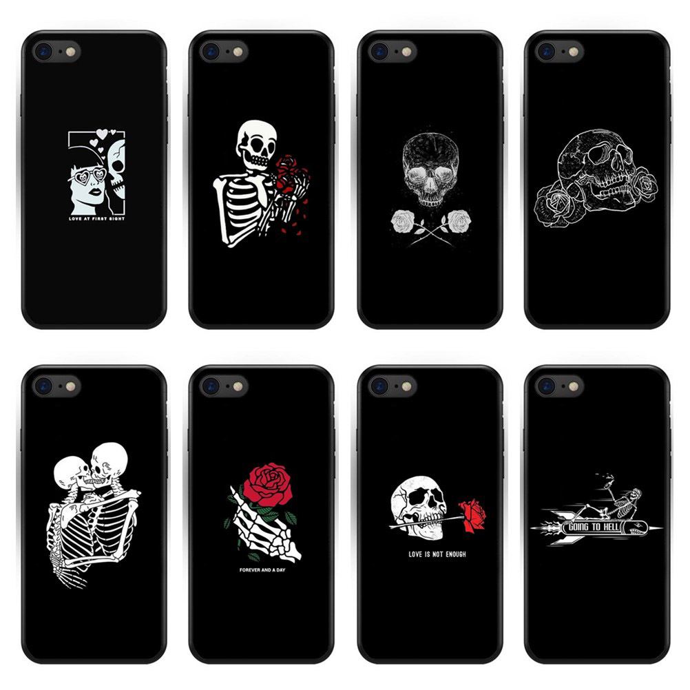 100% Quality Black Skeleton A God Of Death Soft Tpu Phone Case For Iphone 5 5s Se 6 6s Plus 7 7 Plus 8 8 Plus X Xs Transparent Silicone Cover With The Best Service