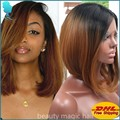 Short Bob Ombre Brown Lace Hair Wig Synthetic Lace Front Wig For Black Women High Quality Heat Resistant Synthetic Lace Wigs