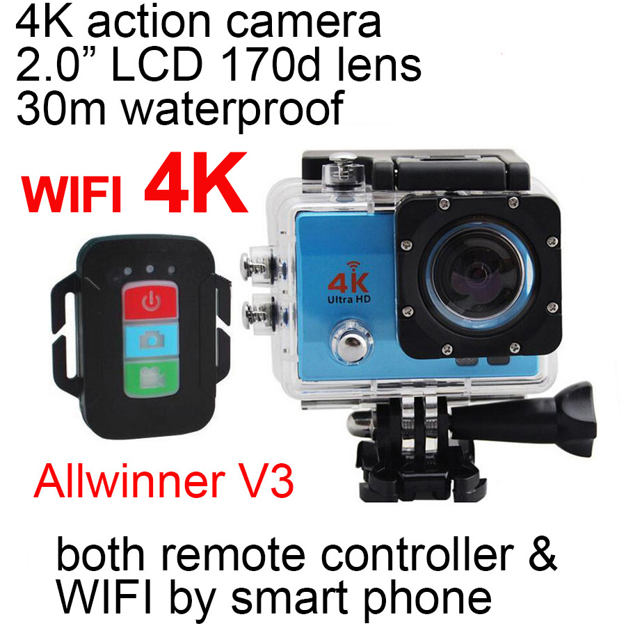 "action camera 4K 1080P wifi sport cam Q3HR Sports DV outdoor diving DV 2.0"" LCD 170D lens remote control IP68 30m waterproof"