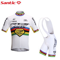 Santic Men Cycling Jerseys Sets Bike Riding MTB Short Sleeve Summer Ropa Ciclismo Suit White Cycling Clothing M5CT053W