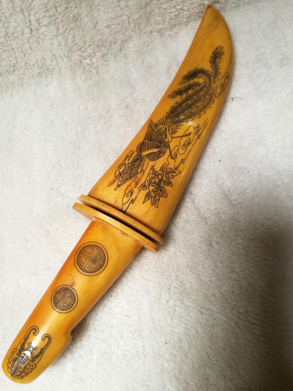 ୧ʕ ʔ୨archaize ox corne sculpture couteau décoration dragon et