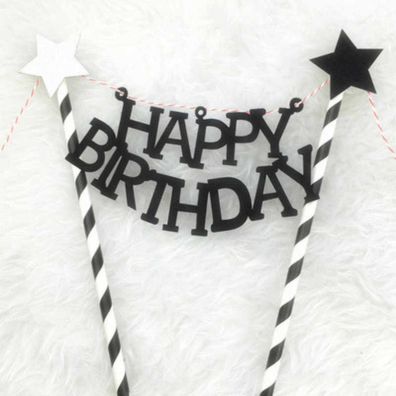 1PCs/Lot Bowknot Happy Birthday Cake Topper for Party Decoration Cupcake Flag for Baby Shower Cake Decoration Tools Supplies