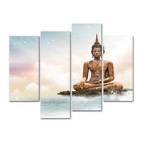 High Quality 4 Pieces Canvas Wall Art Sakyamuni Buddha Canvas Painting Bangkok Temple Sculpture Buddha Religious Modern Painting