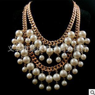 Collares New Real Han Edition Of Big Shop Sign Necklace 2015 Bankruptcy And Sisters With The Temperament Multilayer Short Pearl