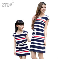 ZTOV Summer Mother Daughter Dresses Family Matching Outfits Clothes Cotton Navy Stripes Mom Dress Family Look