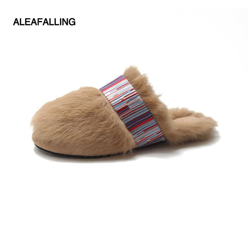 Aleafalling Winter Real Fur Women Slipper Warm Flat Slides Classical Soft Slipper Home Flip Flops Female Warm Shoes Bottom T84