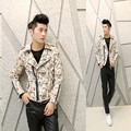 Leather & Suede men's fashion casual jacket Korean Slim PU leather jacket floral printing hairstylist tide men coat