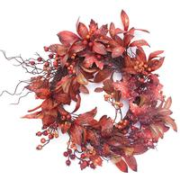Home Ornament Simulation Wreath Artificial Christmas Pine Cones Maple Leaf Sunflower Wreath Thanksgiving Halloween Door Decor J2