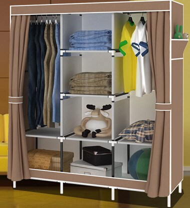 Wardrobe Closet Large And Medium-sized, Wardrobe Cabinets Simple Folding Reinforcement Receive Stowed Clothes Store Content Ark