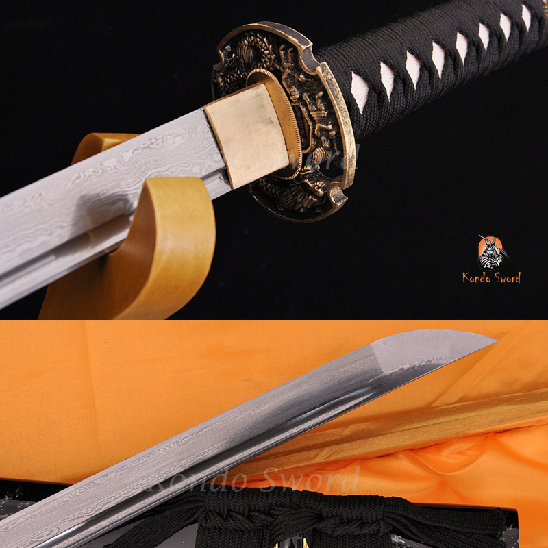 Skládaný ocelový úplňový nůž Blade Dragon Tsuba Japonský samurajský meč Katana Swords