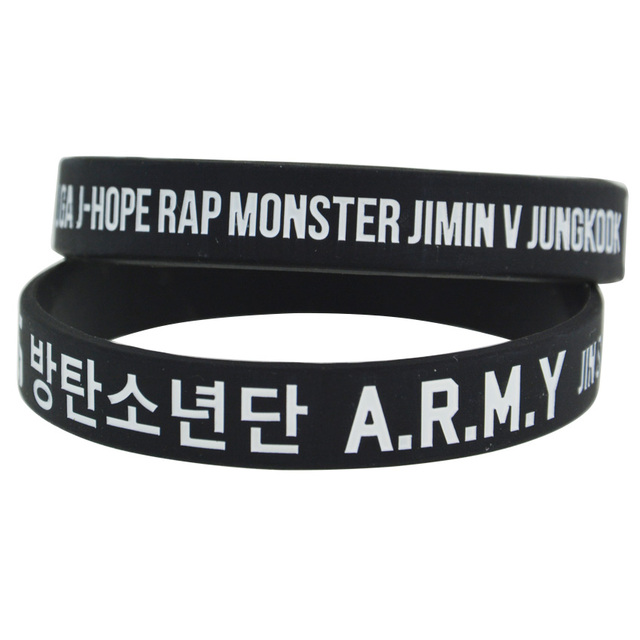 1piece Bts Army Debossed Logo Silicone Wristband