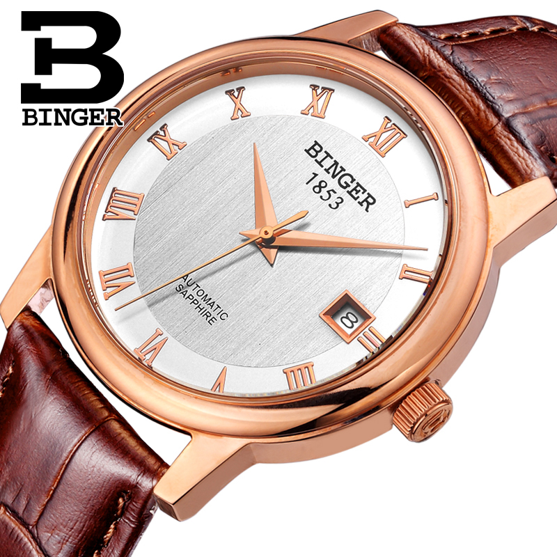 Switzerland BINGER watches men luxury brand Mechanical Wristwatches sapphire full stainless steel 1 year Guarantee B653-6 switzerland binger watches men luxury brand automatic self wind movement mechanical wristwatches full stainless steel bg 0405 6
