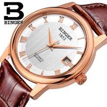 Швейцария БИНГЕР часы мужчины luxury brand Механическая Наручные Часы сапфир полный нержавеющей стали 1 год Гарантия B653-6